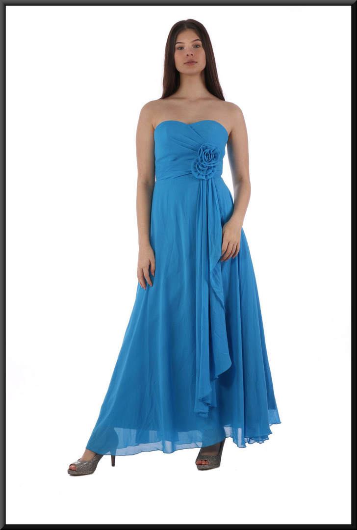 Ankle length strapless dress with full split skirt and rose bodice embellishment - dark turquoise