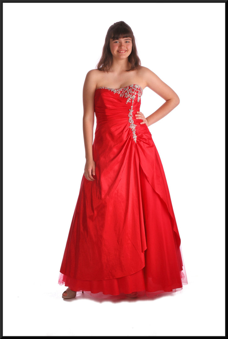 Multi-layered full length strapless evening gown c/w diamanté embellished bodice & net under-skirt, red, size 12, model height 5'10""
