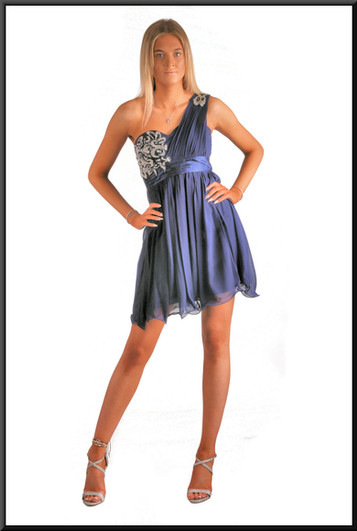 Single strap mini dress - royal blue