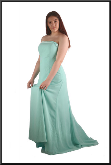 Full length strapless evening dress with train chiffon over satinette, pale sea blue-green, size 16, model height 5'7""