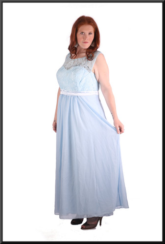 """Size 22 """"Elsa"""" Frozen-style  chiffon over satinette skirt with embroidered bodice and corset tie - powder blue"""
