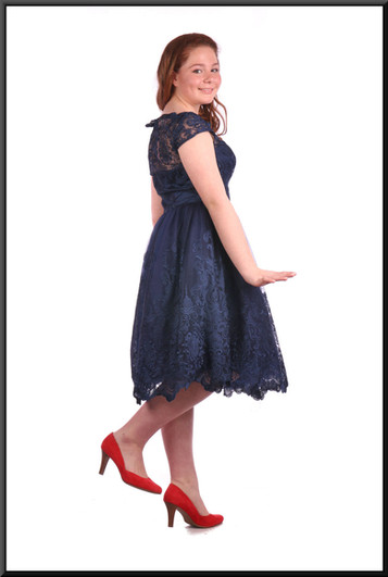 """Below the knee layered net over satinette dress,navy blue - size 12. """"Dorothy"""" shoes see Girls Accessories A014.. Model height 5'4"""""""