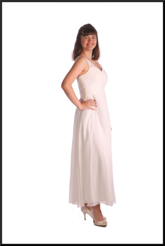 Greek goddess style calf length chiffon over satinette evening dress, pale cream, size 12