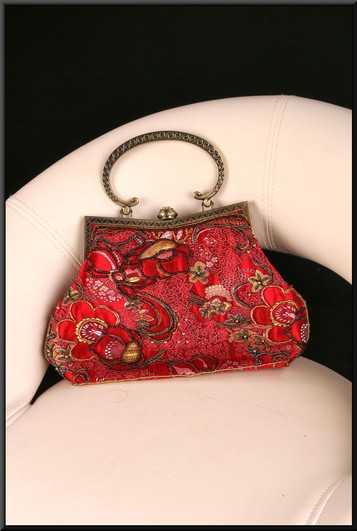 Intricate Chinese style red satinette handbag with jewel-effect embroidery and gold effect clasp / handle