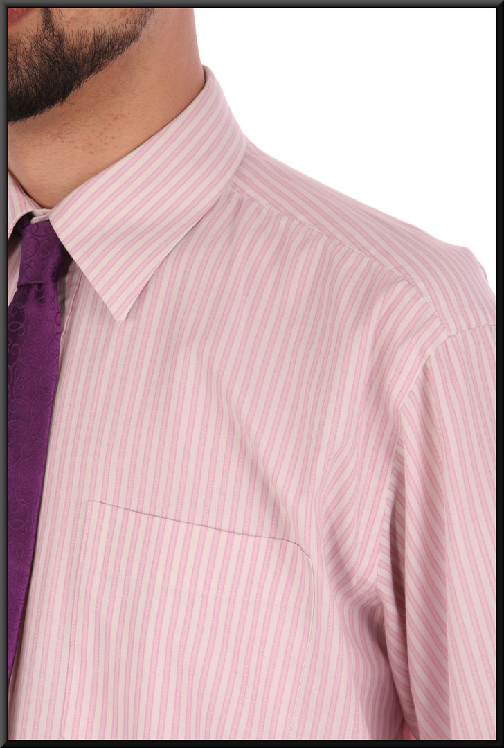 "Men's pink and white striped business shirt collar 16"" / 40 / 41 cm.  Worn with trousers cat. no. 229 and tie cat. no. A082"