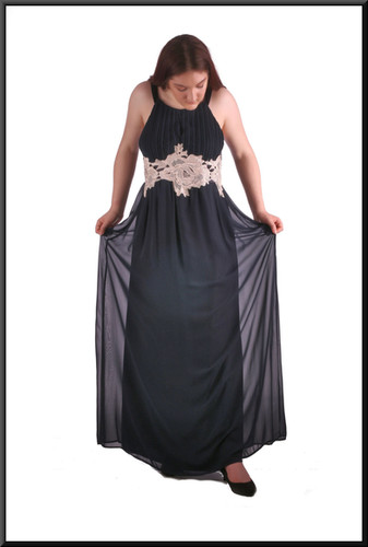 Full length chiffon over satinette hi-waist evening dress with cream embroidered panel just below bodice, size 16/18 black and cream