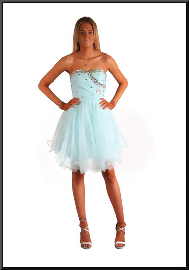 Net skirt mini dress - light blue