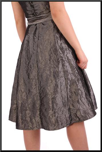 """Brushed velvet/satin effect strapless knee length dress - silver grey, size 12. Model height 5'7"""""""