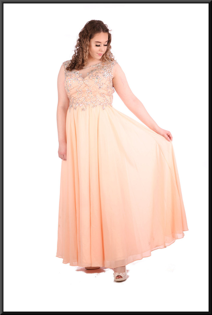 Full length voile over satinette full skirt with embellished upper bodice and collar, size 14 in pink.  Model height 5'7""