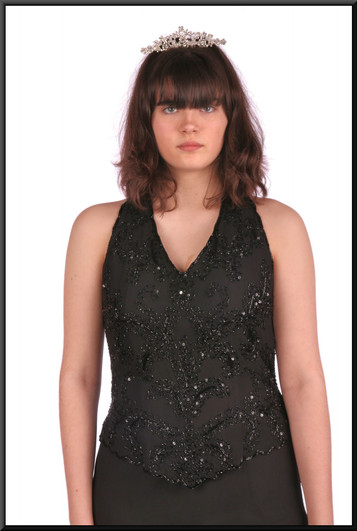 """Ankle length slim fit evening dress chiffon over satinette with bejewelled bodice - black, size 10. Model height 5'10"""".  Tiara available separately."""