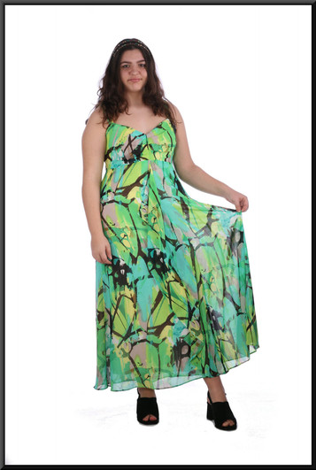 "Boho ""Summer of Love"" lined chiffon ankle length dress - black, white and green, size 16; model height 5'8"""