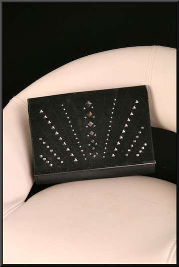 Black felt effect clasp / shoulder bag with silver coloured metal studs and carry handle