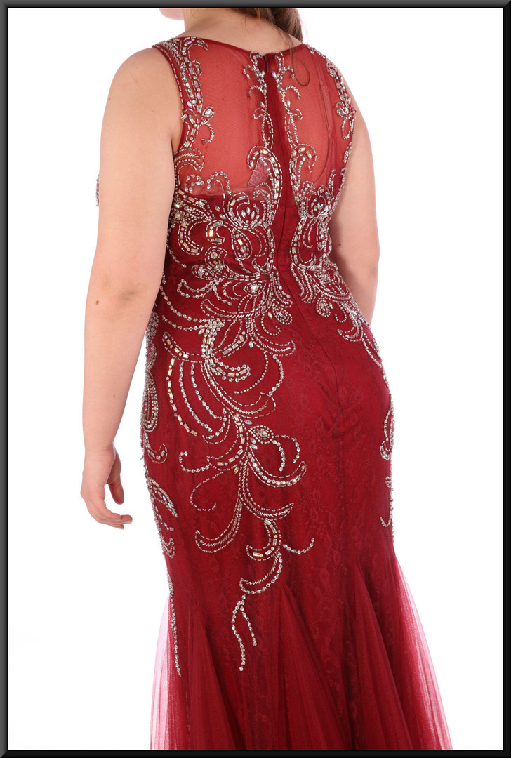 Jessica Rabbit style flared evening dress with gold coloured bejewelled trim - burgundy red, size 14.  Model height 5'7""
