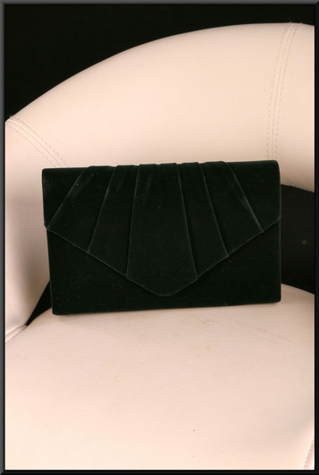 Black felt effect clasp / shoulder bag with gold coloured chain and green satinette lining