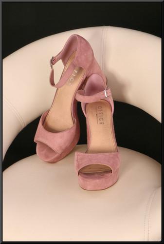 Ladies' pink felt effect platform sandals marked EU 38 size 5 by Office