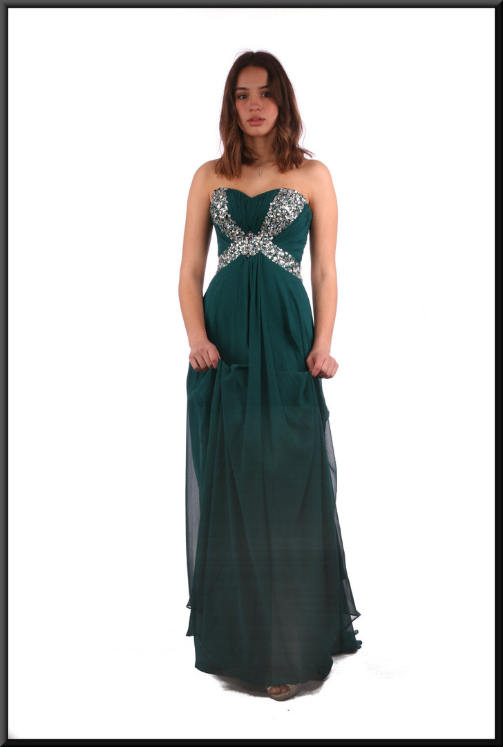 """Size 6 / 8 full-length strapless evening dress and chiffon over-skirt - bottle green, size 6 / 8. Model heights blonde 5'3"""" and brunette 5'7"""""""
