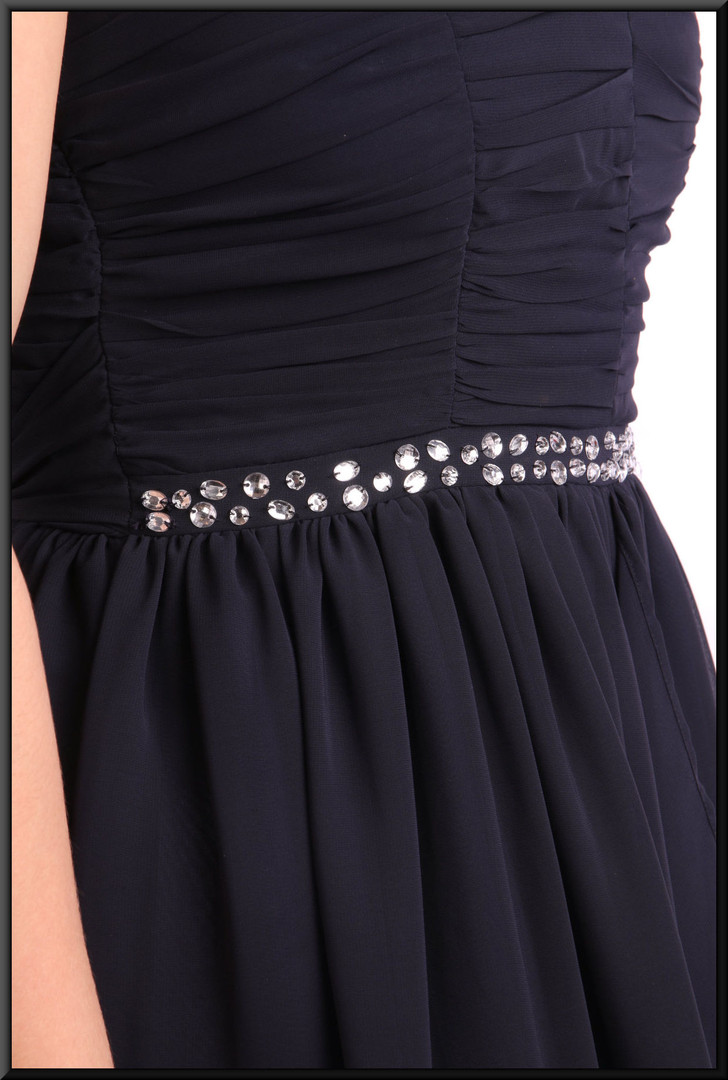 """Single strap full length evening dress with full double skirt - navy blue, size 8. Model height 5'3"""" Other model (final picture) 5'7"""""""