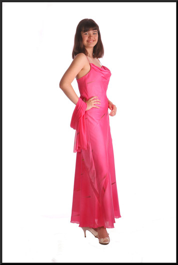 """Twenties style 100% polyester ankle length satinette party dress with matching shrug, shocking pink, size 12, model height 5'10"""""""