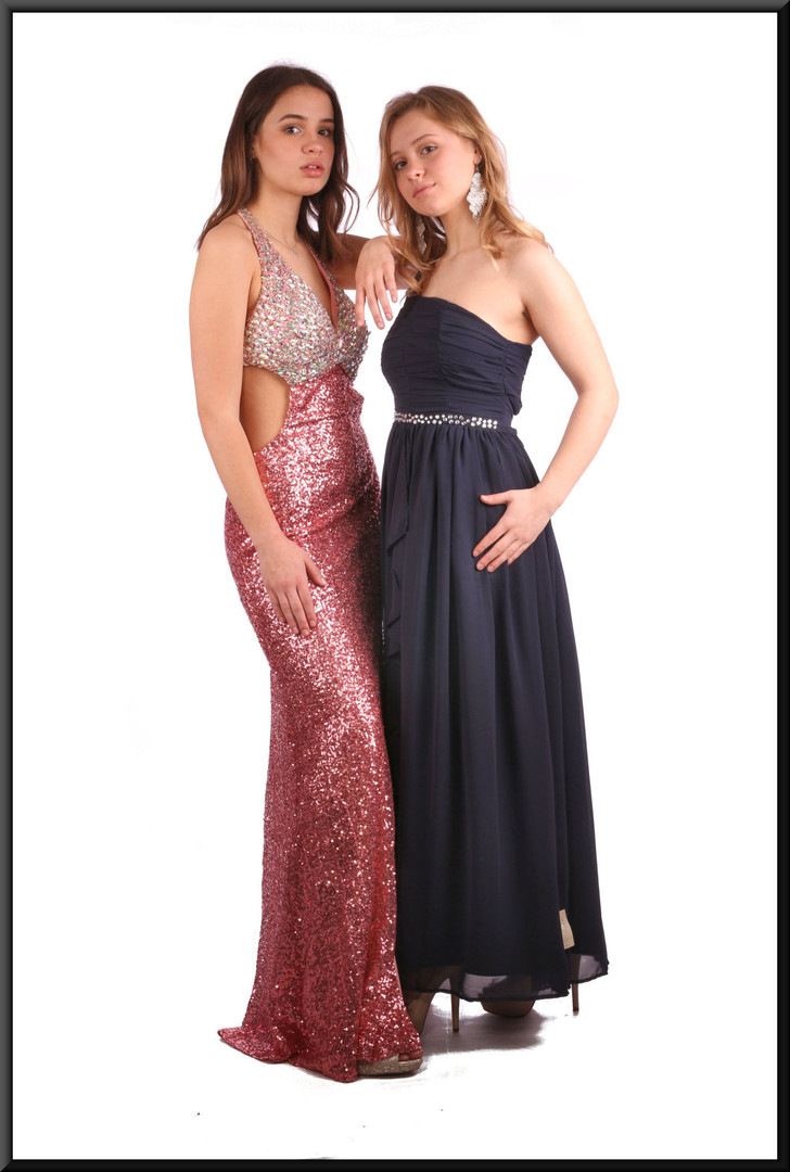 "Full length sequinned sparkly low back and sides evening dress - pink and silver, size 6.  Model height 5'7"", (other model 5'3"")"