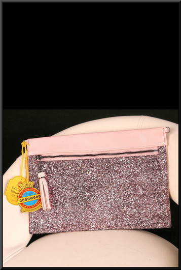 Pink leather effect with glitter front clasp bag with optional Goodwood enclosure tags