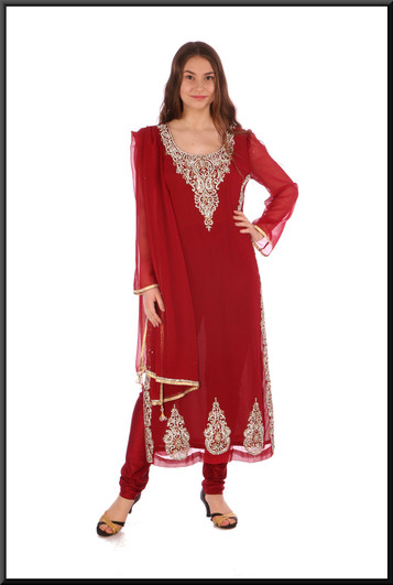 """Calf length ethnic styled dress with extensive jewelled embellishment , trousers & shawl - burgundy, size 10. Model height 5'5"""""""