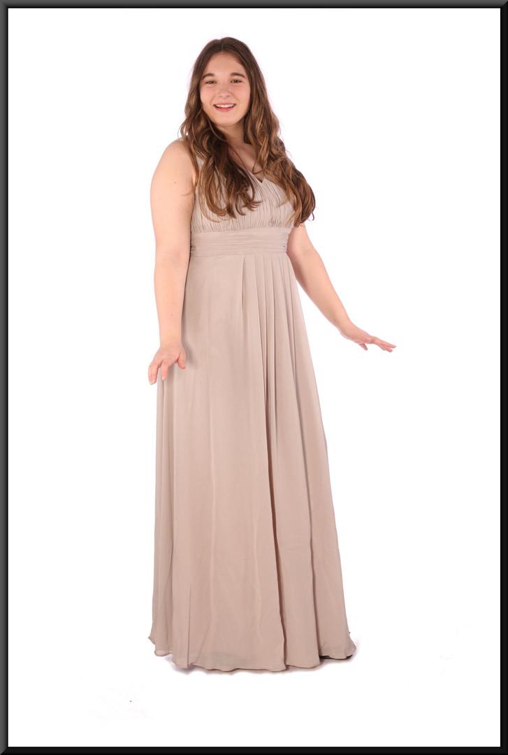 "Full length chiffon over satinette evening dress - grey, size 14; model height 5'7"""