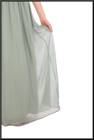 """Full length chiffon over satinette evening dress with rear ruched bodice - sage green, size 10 / 12. Model height 5'7"""""""