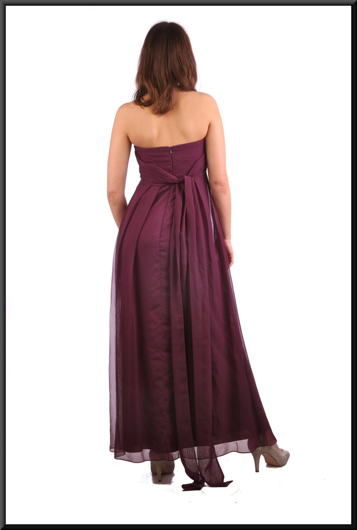 Ankle length double layer net over satinette evening dress with long tie - plum, size 8.  Model height 5'7""