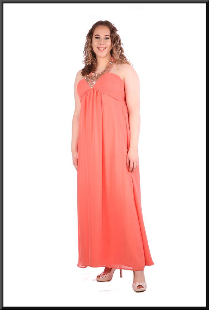 Halter neck full length voile over satinette dress - lobster pink