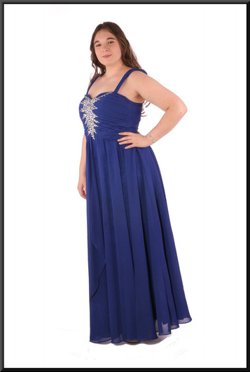 """Chiffon over skirt over satinette skirt with diamanté embellished ruched bodice - royal blue, size 14. Model height 5'7"""""""