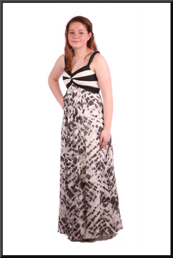 """Full length summer evening dress falling from the bust-line - black and grey on cream, size 10. Model height 5'4"""""""