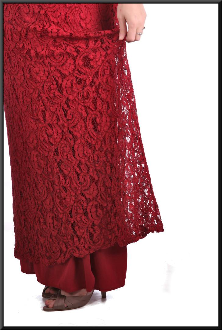 """Crochet mesh over satinette 100% polyester slimline fit ankle length evening dress, burgundy, size 18, model height 5'7"""""""