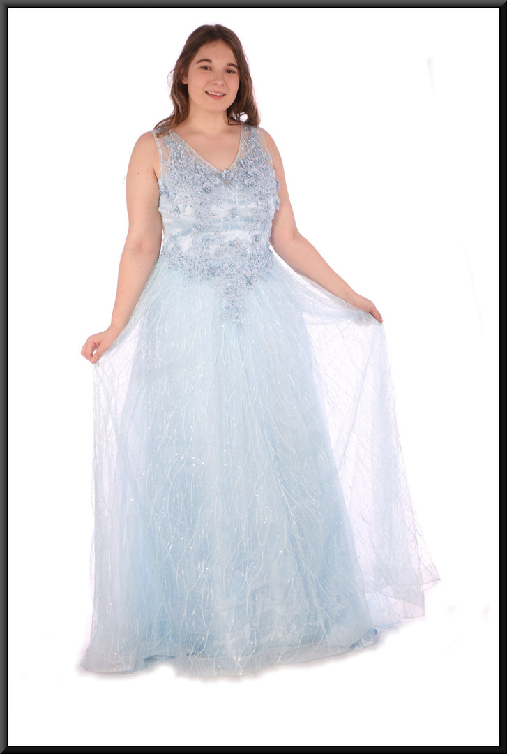 """Fairy queen full evening dress chiffon over satinette with embellishment throughout - powder blue, size 14; model height 5'7"""""""