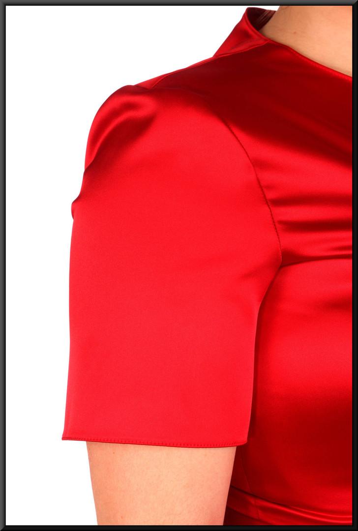 "Variable length satin-effect cocktail dress - dark scarlet, size 12. Model height 5'4"""