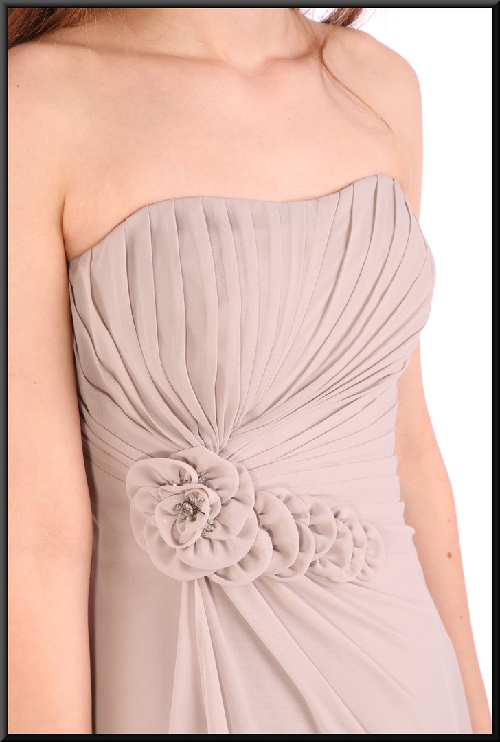 Strapless flowing double layer chiffon evening dress - light grey, size 8 / 10.  Model height 5'6""
