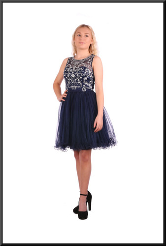"""Multi-layer net mini skirt with diamanté decorated bodice – 100% polyester dress, size 4in royal blue Model height 5'2"""""""