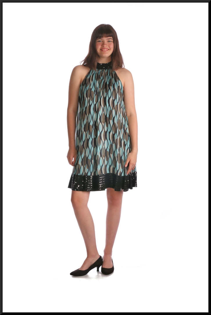 Twenties style mini dress silk with polyester lining and sequinned hemline, teal / multi, size 10, model height 5'10""