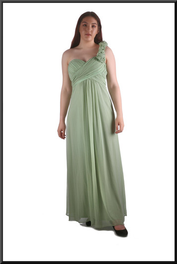 Greek goddess flowing chiffon over satinette dress with floral design single strap & ruched bodice, lime, size 12, model height 5'7""