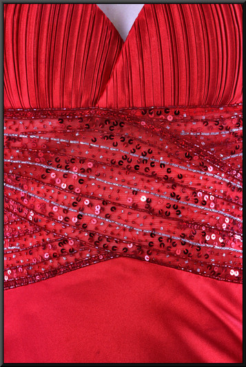 """Ankle length poly-satin red dress with sequinned bodice and crossover rear straps, size 8. Model height 5'10"""""""
