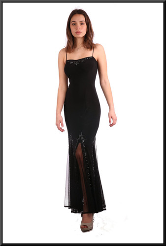 Size 4 / 6, berber style full length split skirt over net underskirt with diamanté bodice - black; model height 5'7""