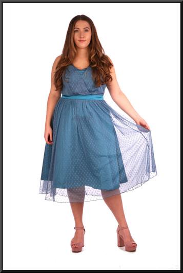 "Three quarter length dress layered chiffon over satin underlay in dark turquiose.  Model height 5'4"""