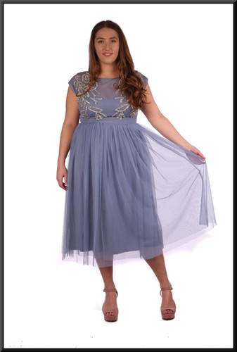 Three quarter length open back layered chiffon over satin underlay in blue with a hint of lilac, size 12.  Model height 5'4""