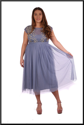 """Three quarter length open back layered chiffon over satin underlay in blue with a hint of lilac.  Size 12.  Model height 5'4"""""""