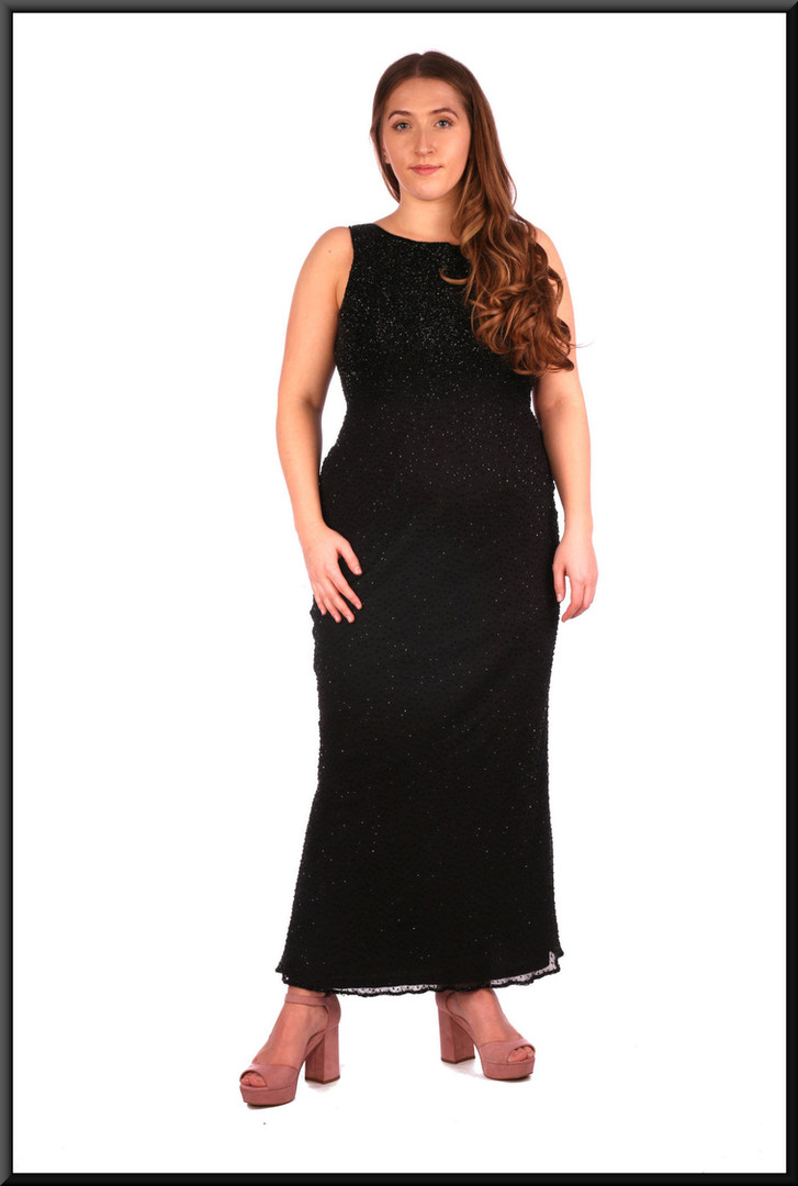 """Sequinned twenties-style full length cocktail dress with v-neck back in black.  Model height 5'4"""""""