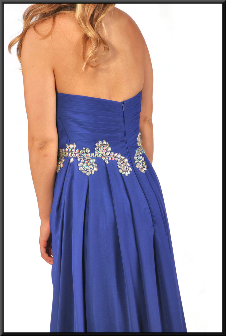 """Full length strapless evening dress with silver decoration chiffon over satinette in royal blue, size 10 / 12; model height 5'5"""""""