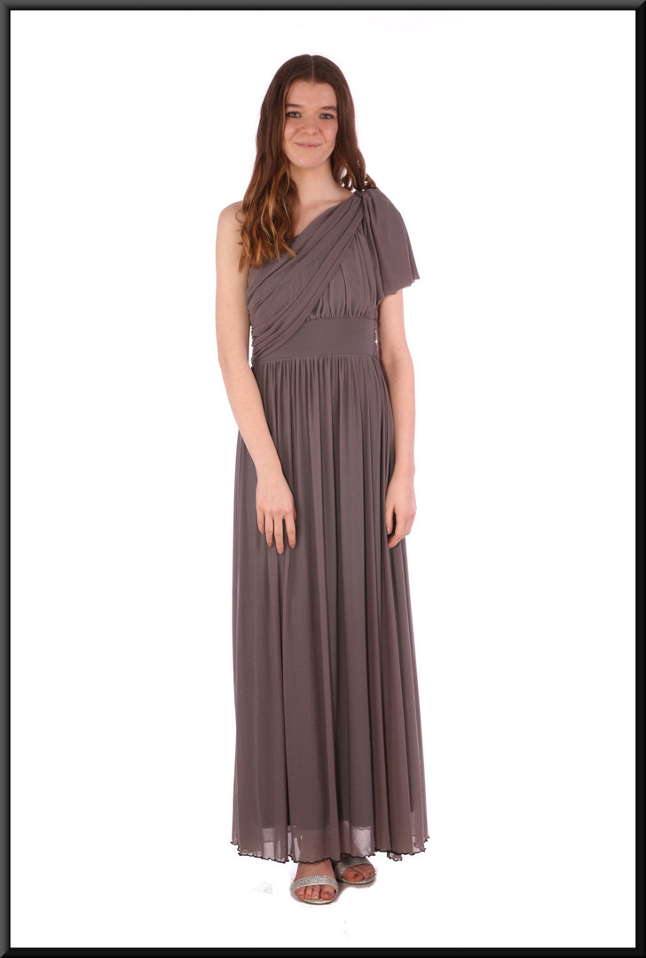 Greek goddess style evening dress with single tie shoulder strap chiffon over satinette - grey, size 8 / 10.  Model height 5'7""