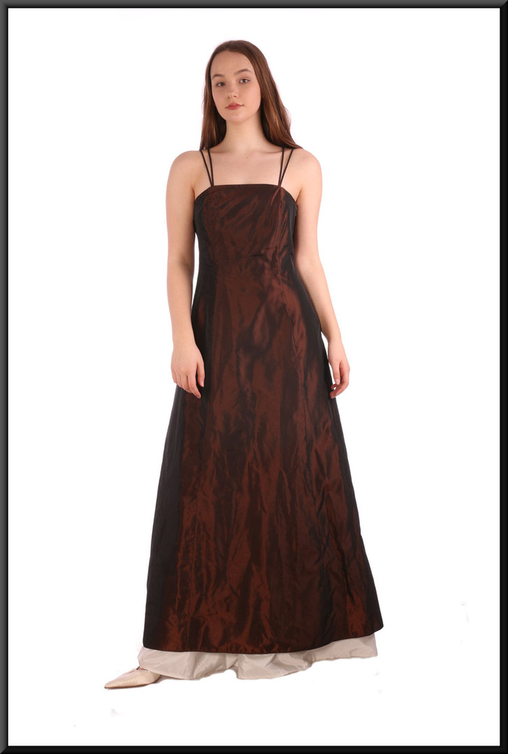 """Unusual two-tone ankle length satin(ette) evening dress with lace tie back, size 10 / 12 - bronze and cream; model height 5'7"""""""