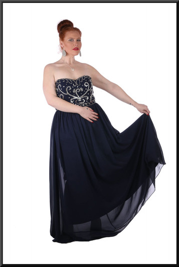 """Strapless full length, full skirt, petticoats, corset rear ties dress, size 20 in navy blue with sequins. Model height 5'7"""""""