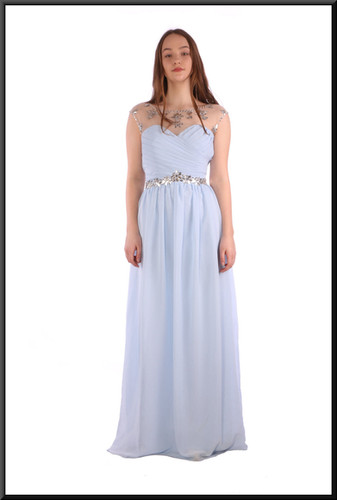 Full length evening dress in chiffon-effect polyester with nude patterned upper bodice - pale blue, size 12; model height 5'7""