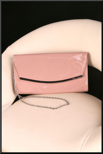 Pink patent clasp / shoulder bag with silver coloured metal chain